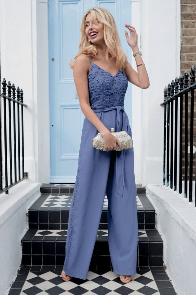 Tamsin Blue Crochet Jumpsuit