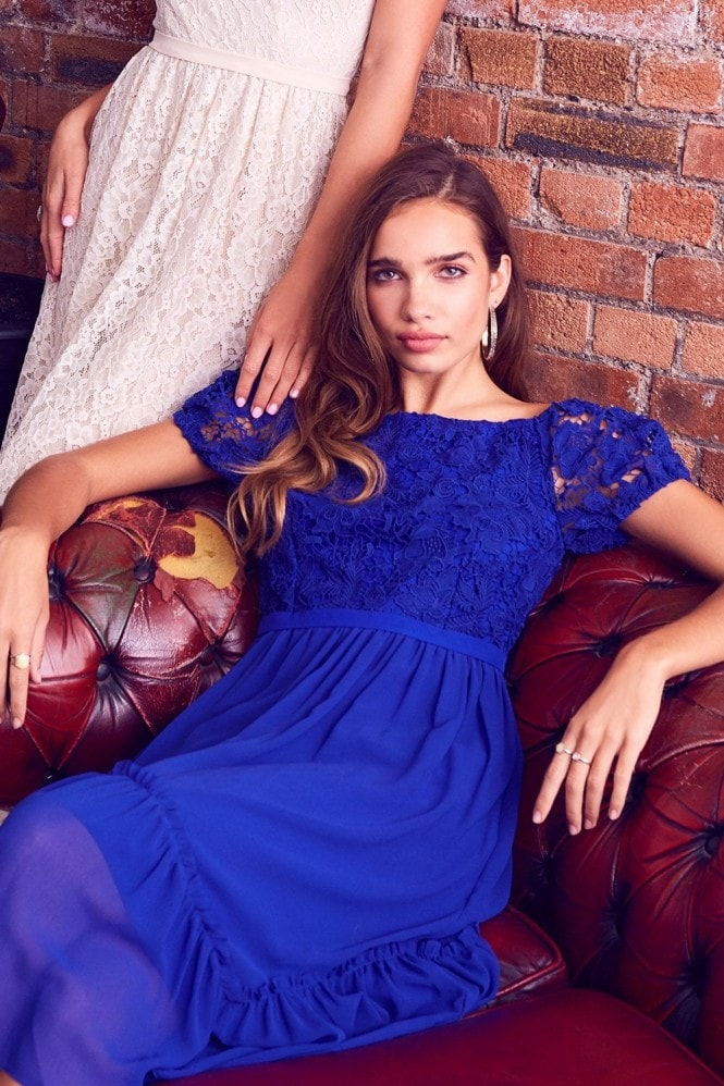 Little Mistress Sian Cobalt Crochet Bardot Midi Dress