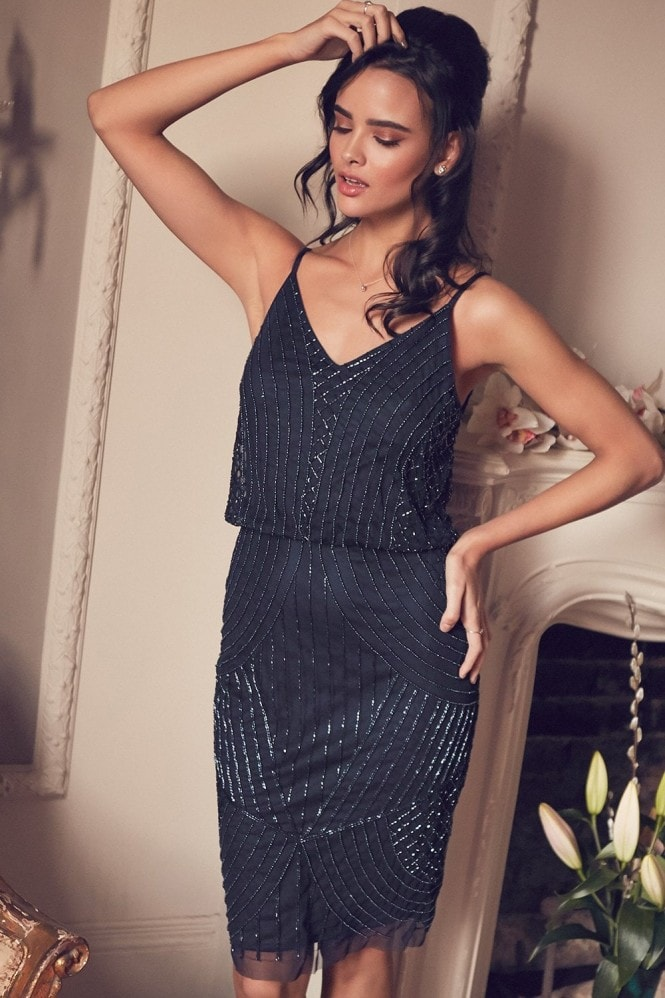 Little Mistress Alexis Navy Beadwork Cami Midi Dress