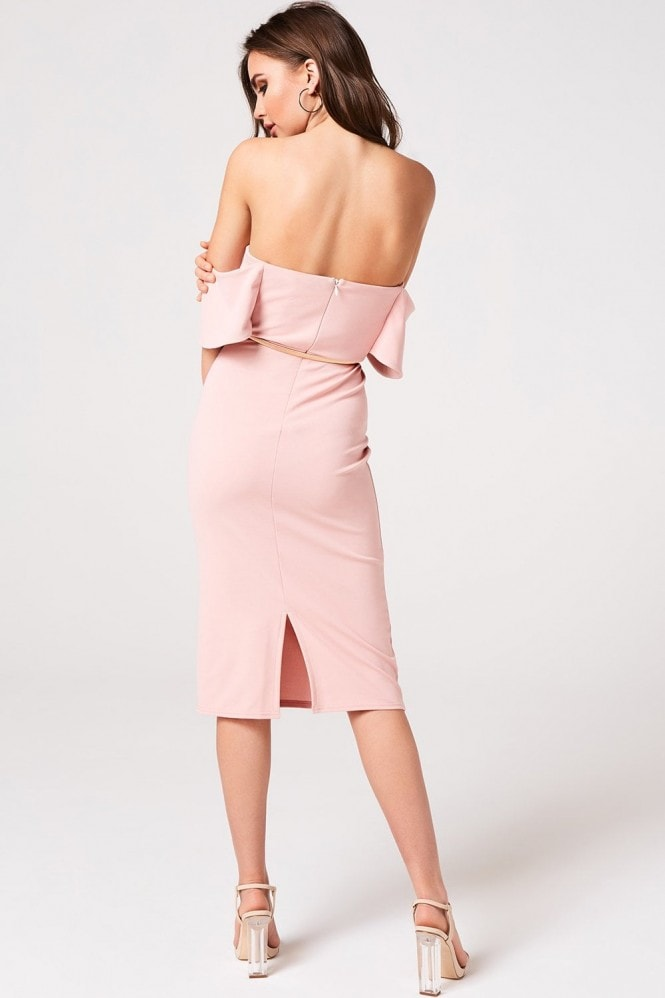 Girls on Film Peony Pink Bardot Bodycon Midi Dress