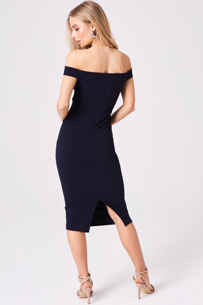 Girls on Film Allure Navy Lace Insert Bardot Midi Dress