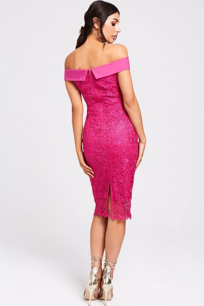 Paper Dolls Lodi Fuchsia Lace Bardot Dress