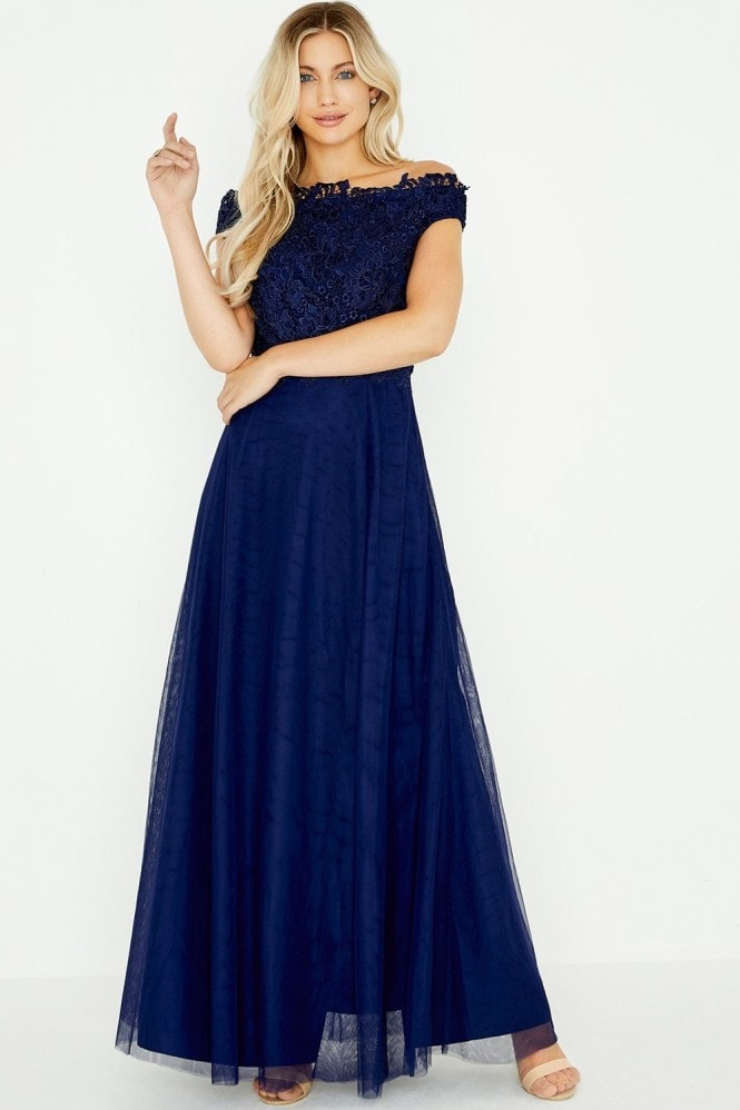 Little Mistress Lizzy Navy Lace Bardot Maxi Dress