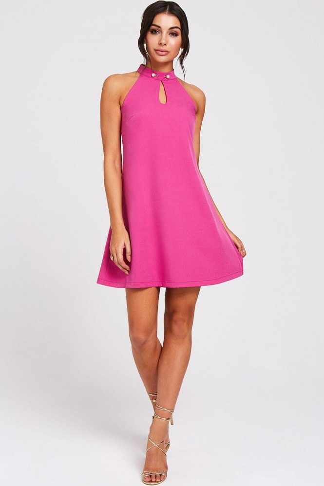 Paper Dolls Tuscon Fuchsia Pearl Detail Shift Dress