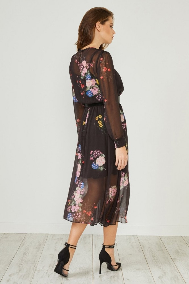 Urban Touch Black Floral Print Long Sleeve Midi Dress