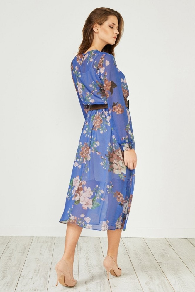 Urban Touch Blue Floral Print Long Sleeve Midi Dress
