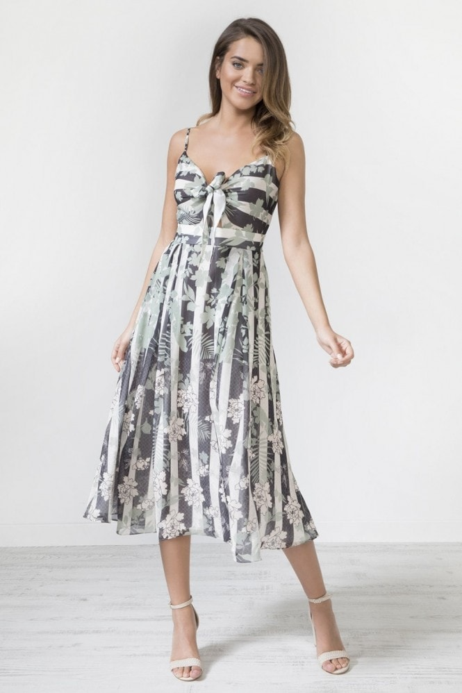 Urban Touch Tie Front Strap Print Midi Dress