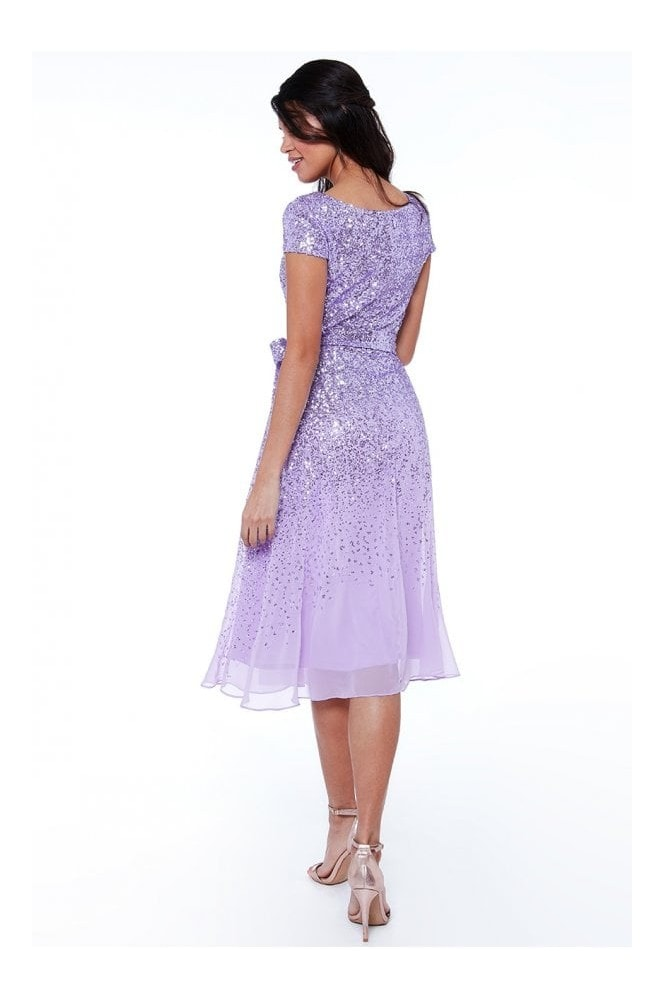 Goddiva Lavender Sequin & Chiffon Belted Midi Dress