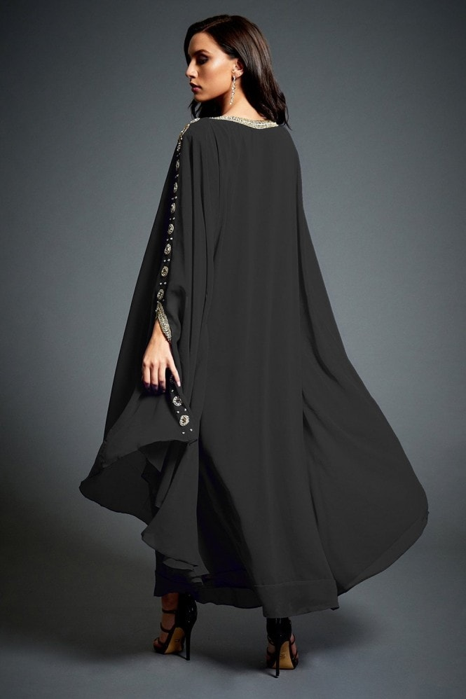 Jywal London Amina Black Embellished Kaftan Maxi Dress