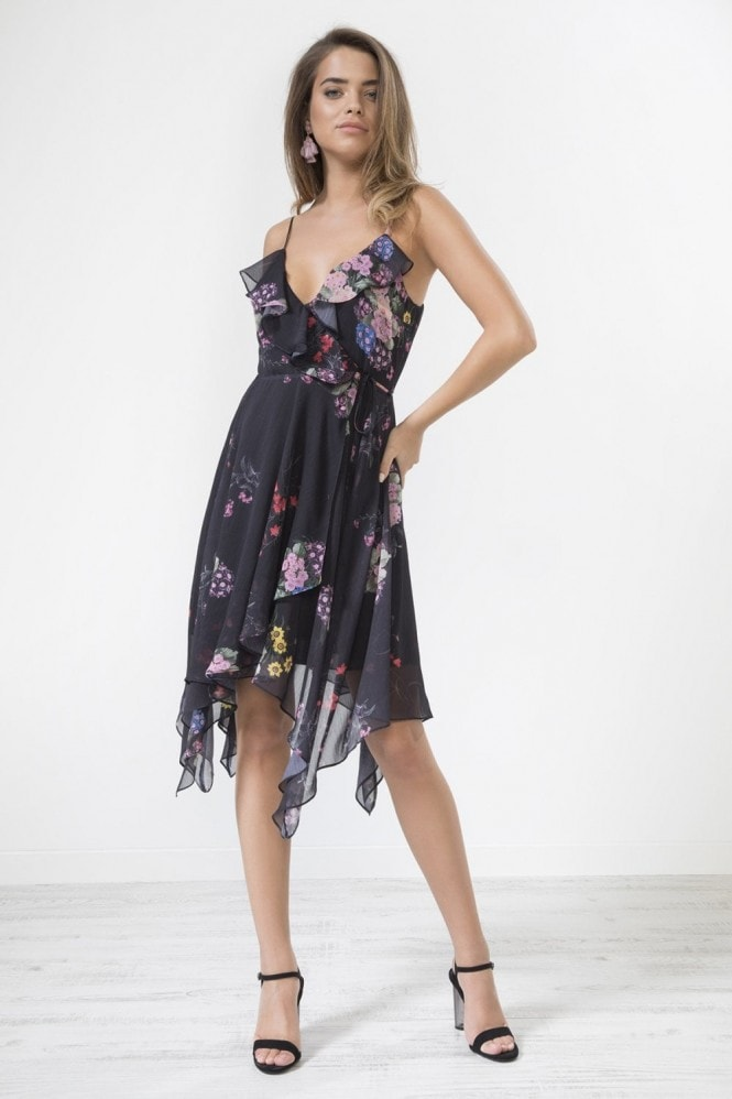 Urban Touch Black Floral Ruffle Neck Crossover Dress