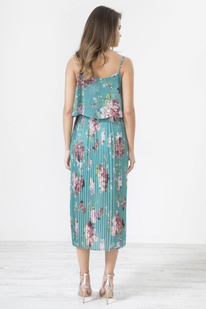 Urban Touch Green Floral Print Pleated Cami Midi Dress