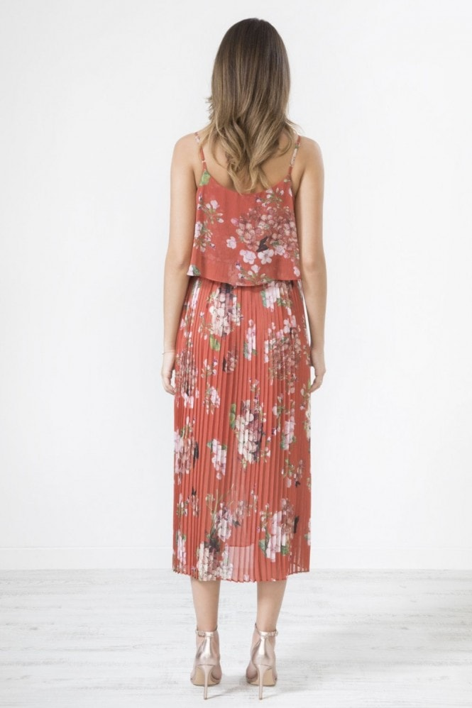 Urban Touch Red Floral Print Pleated Cami Midi Dress