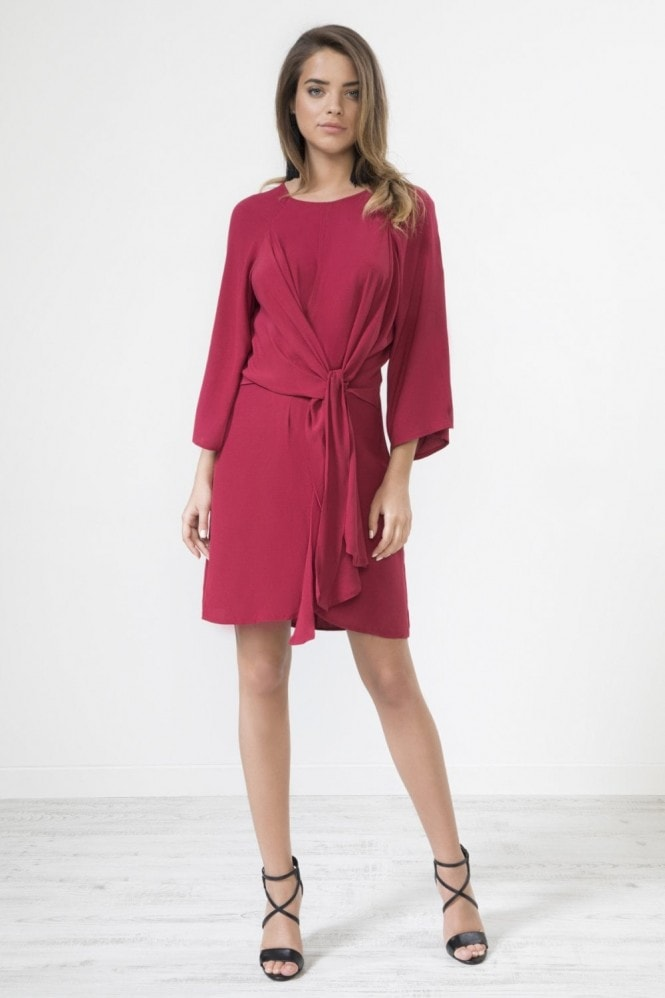Urban Touch Knot Front Long Sleeve Dress