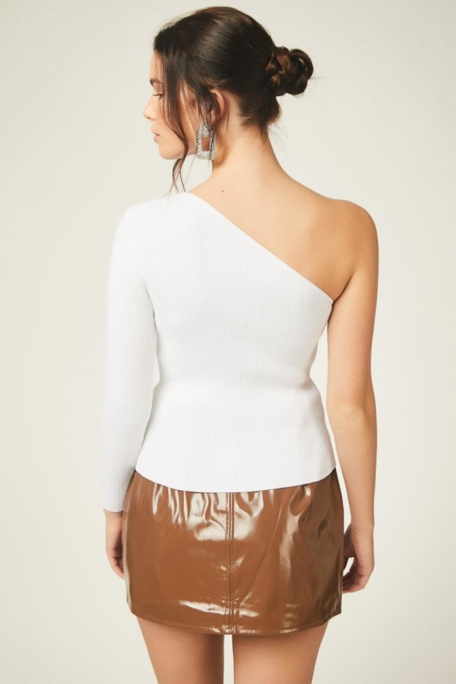 Urban Touch White One Shoulder Knitted Top