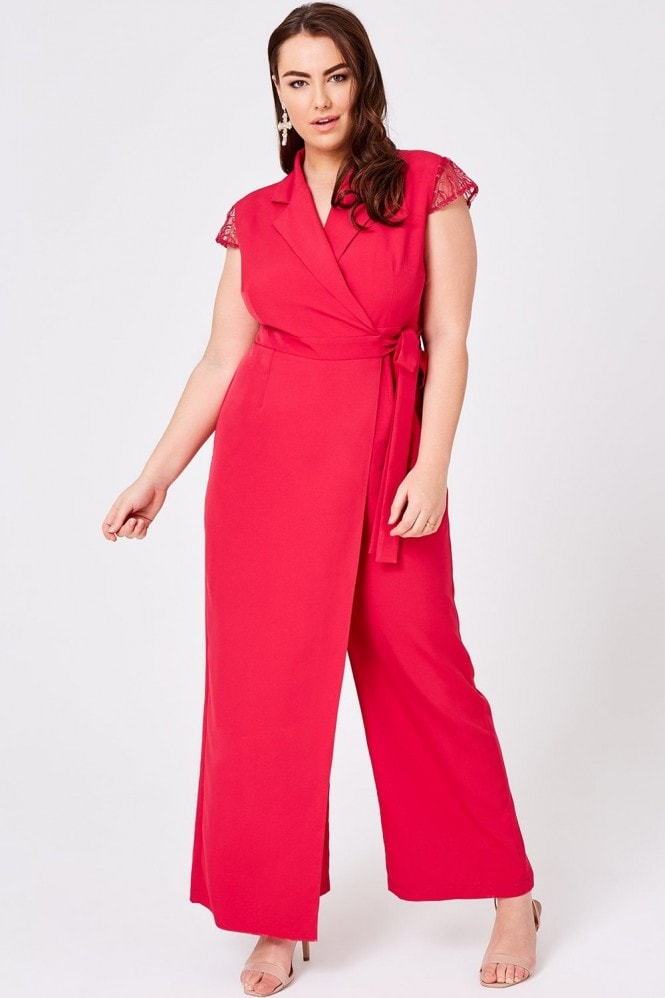 Little Mistress Curvy Jolie Cherry Lace Back Jumpsuit