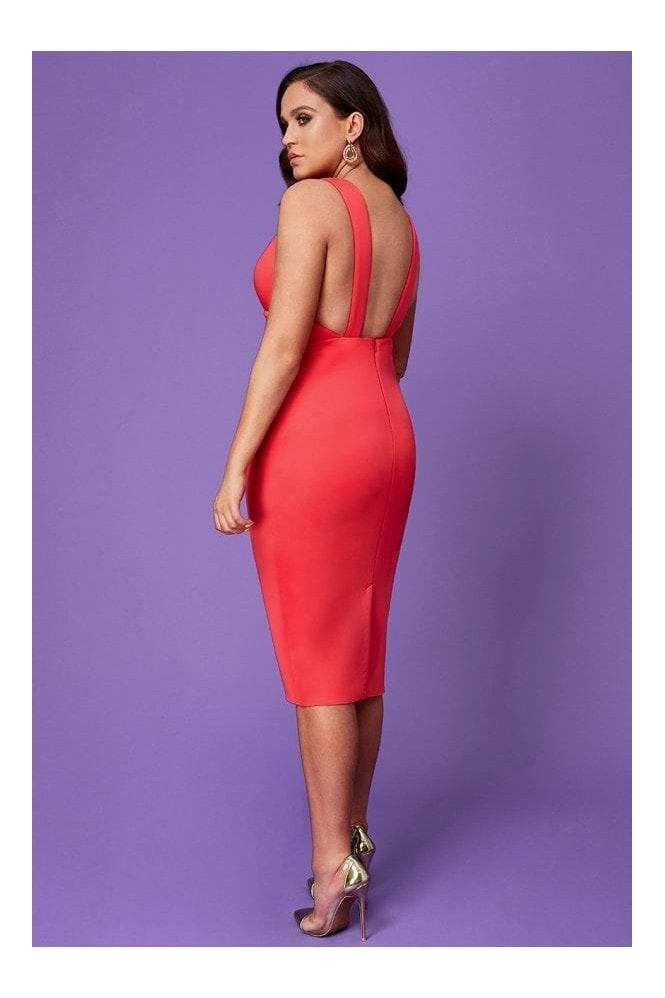 Goddiva Vicky Pattison Hot Pink Back Strap Detailed Midi Dress