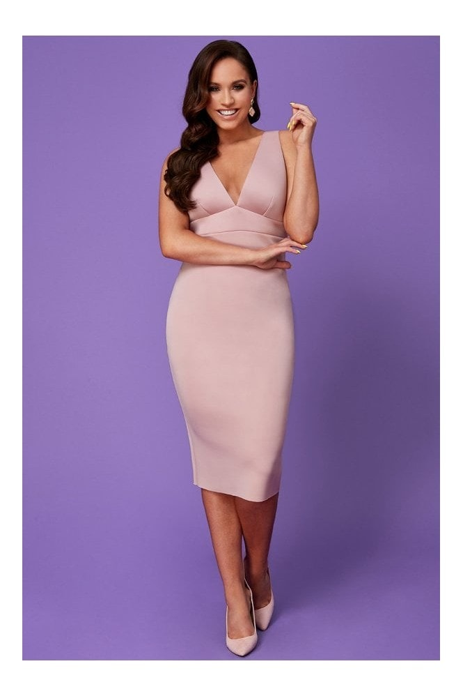 Goddiva Vicky Pattison Nude Back Strap Detailed Midi Dress