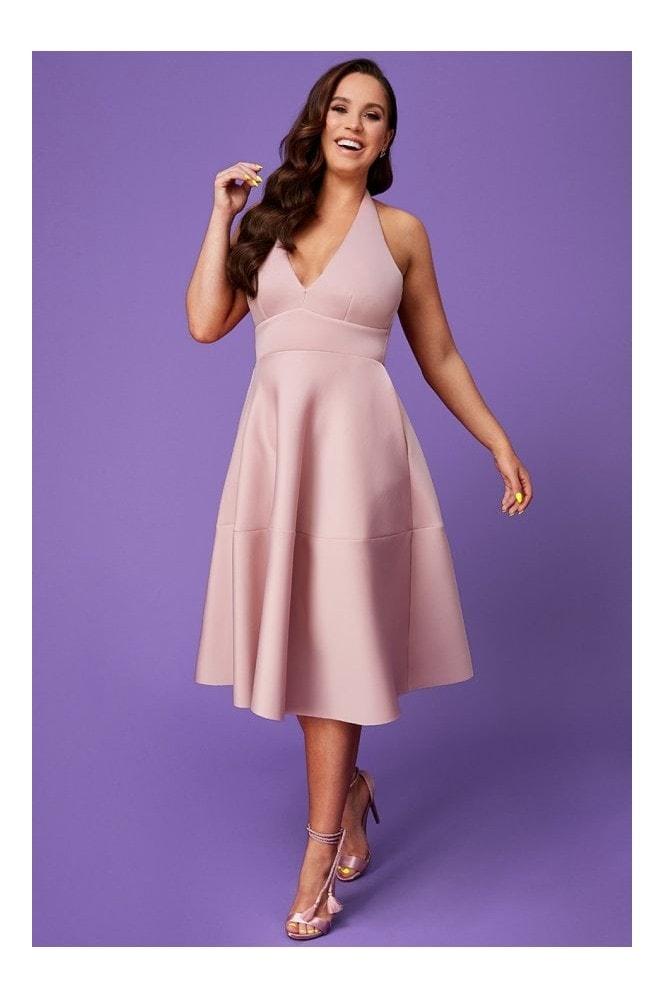 Goddiva Vicky Pattison Nude Halter Neck A-Line Midi Dress