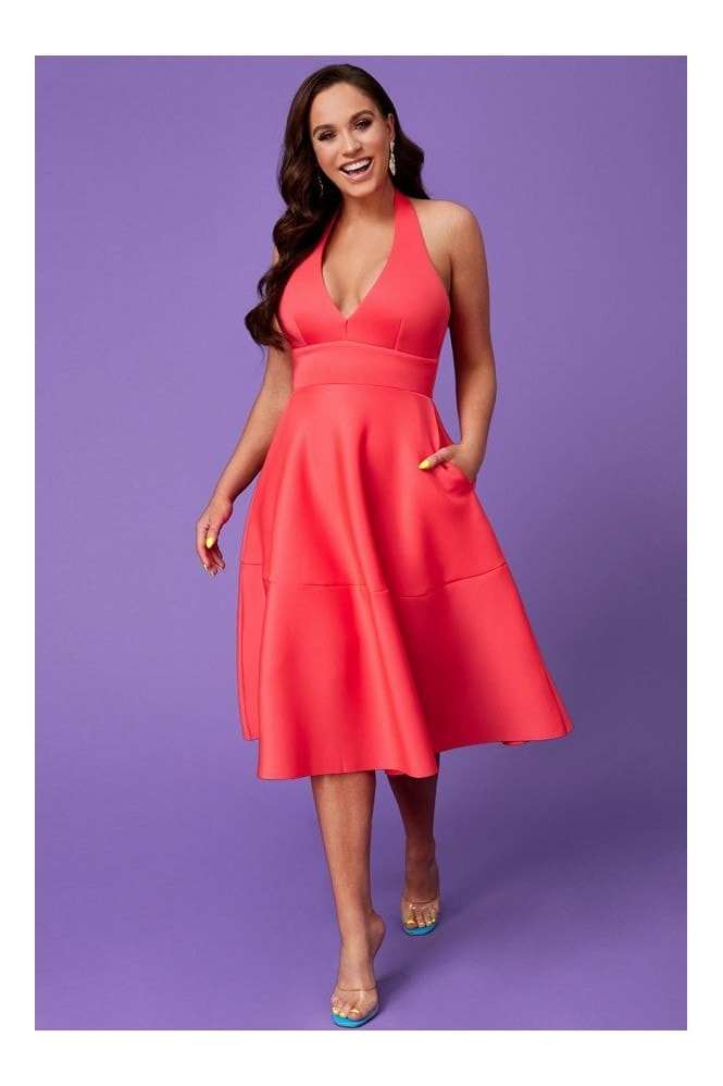 Goddiva Vicky Pattison Hot Pink Halter Neck A-Line Midi Dress