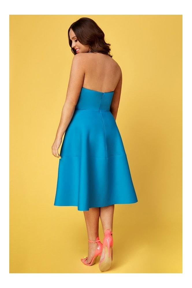 Goddiva Vicky Pattison Azure Halter Neck A-Line Midi Dress
