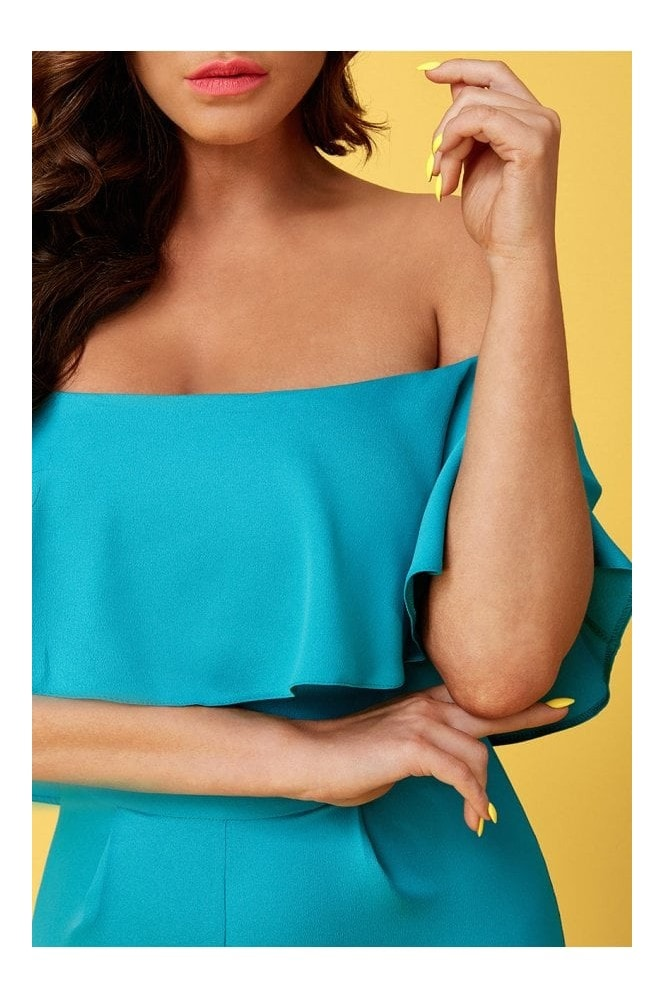 Goddiva Vicky Pattison Turquoise Frilled Off the Shoulder Jumpsuit