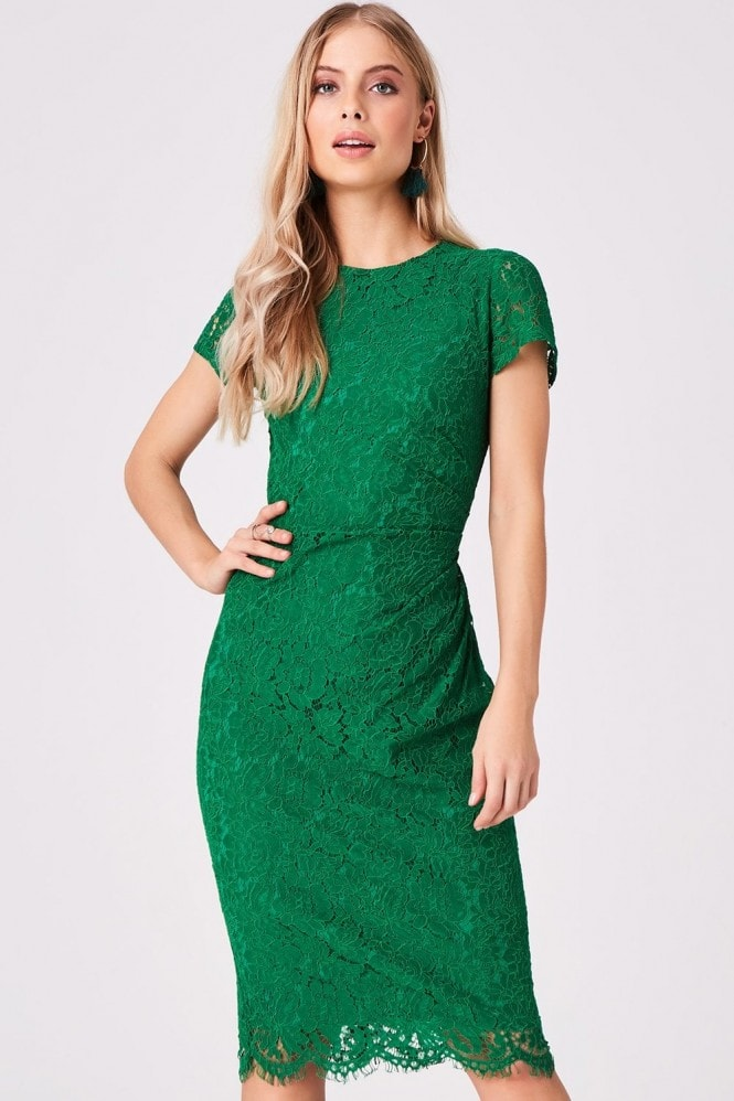 Girls on Film Shana Emerald Lace Bodycon Dress
