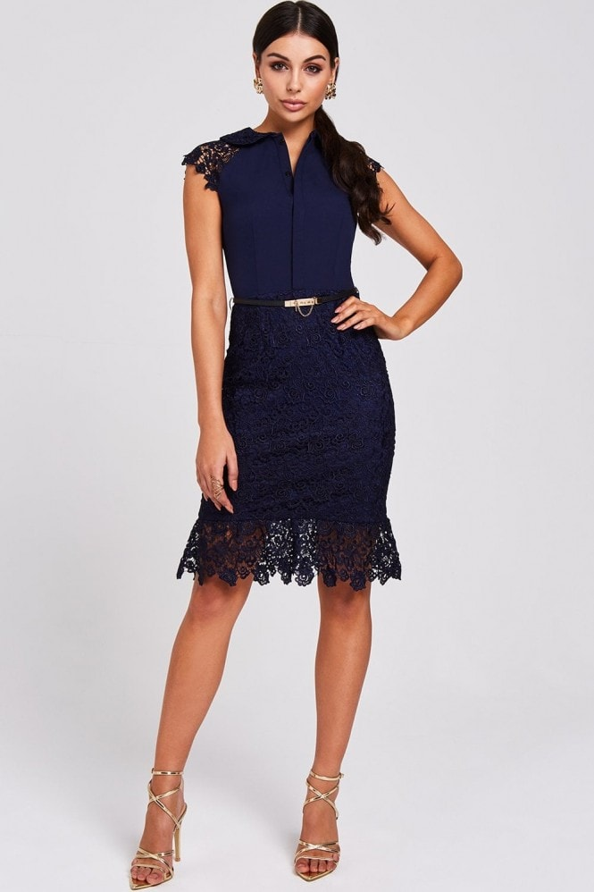 Paper Dolls Audy Navy Lace Peplum Dress