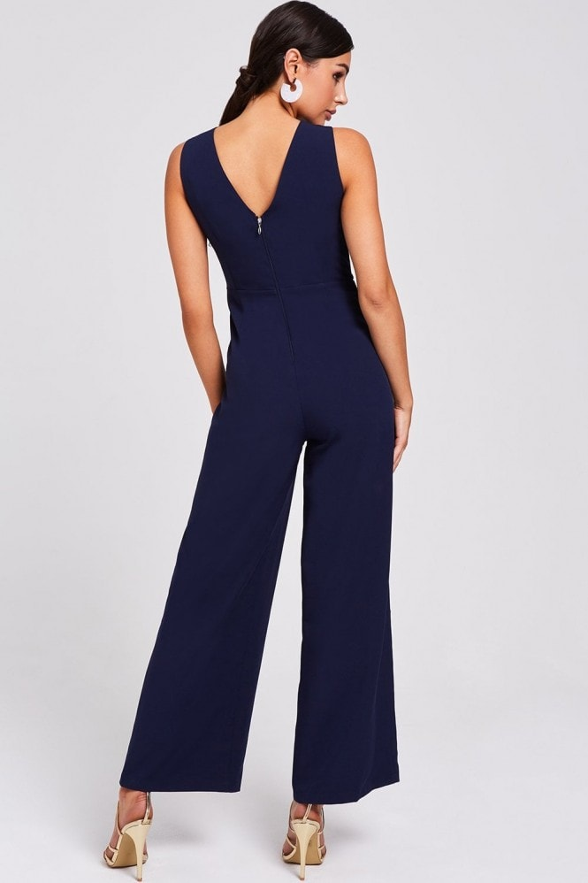 Paper Dolls Fonda Navy And White Colour-Block Jumpsuit
