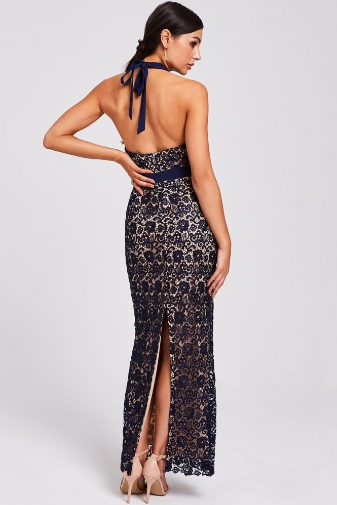 Paper Dolls Salem Navy Lace Halter Maxi Dress