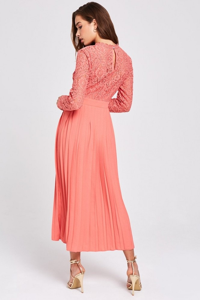 Little Mistress Casey Grapefruit Pleated Midaxi Dress