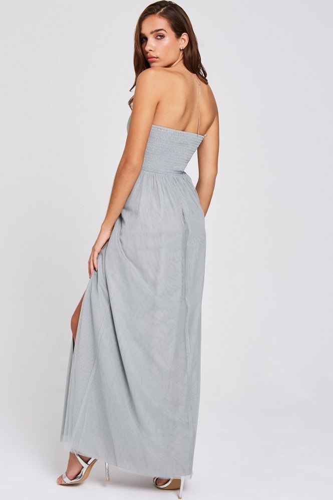Little Mistress Lissa Waterlily Sweetheart Neckline Maxi Dress