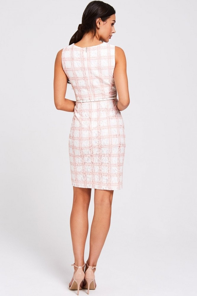 Paper Dolls Vermont Blush Lace Check Pencil Dress