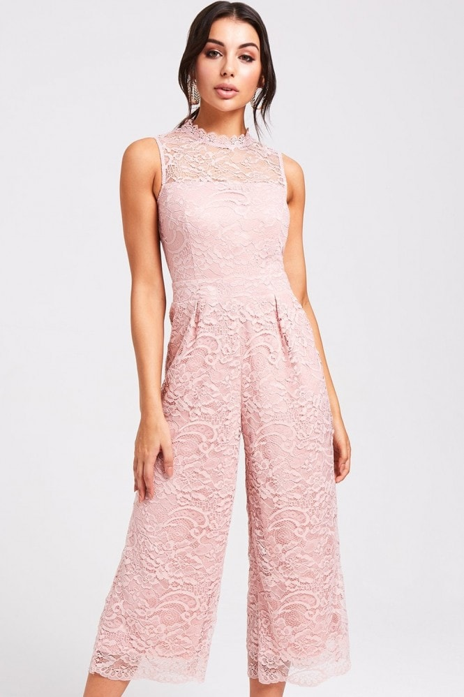 Paper Dolls Houston Blush Lace Culotte Jumpsuit