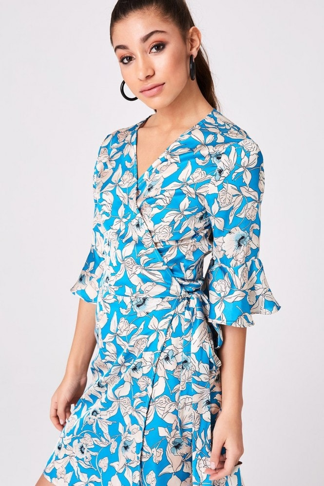 Girls on Film Jagger Turquoise Floral-Print Satin Wrap Dress