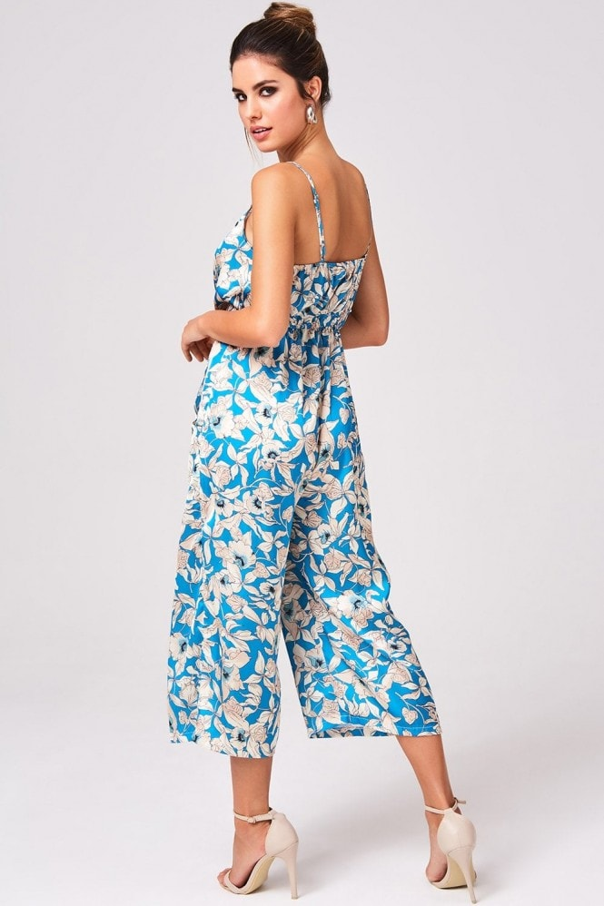 Girls on Film Embrace Turquoise Floral-Print Culotte Jumpsuit