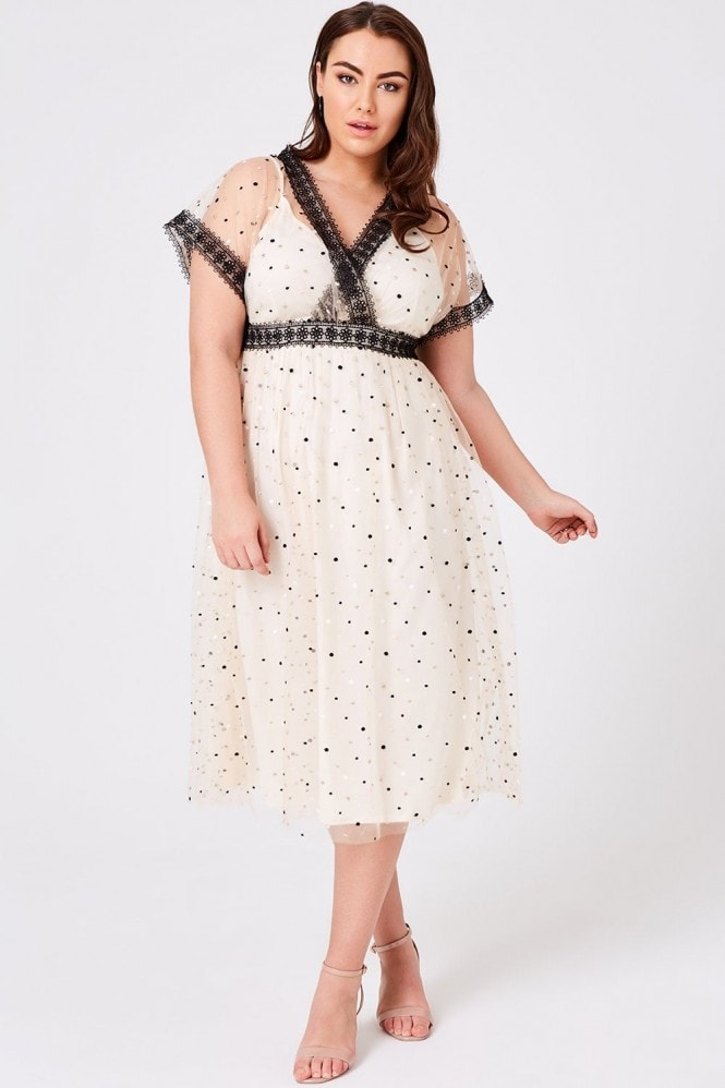 Little Mistress Curvy Eileen Buttercup Spot Mesh Midi Dress
