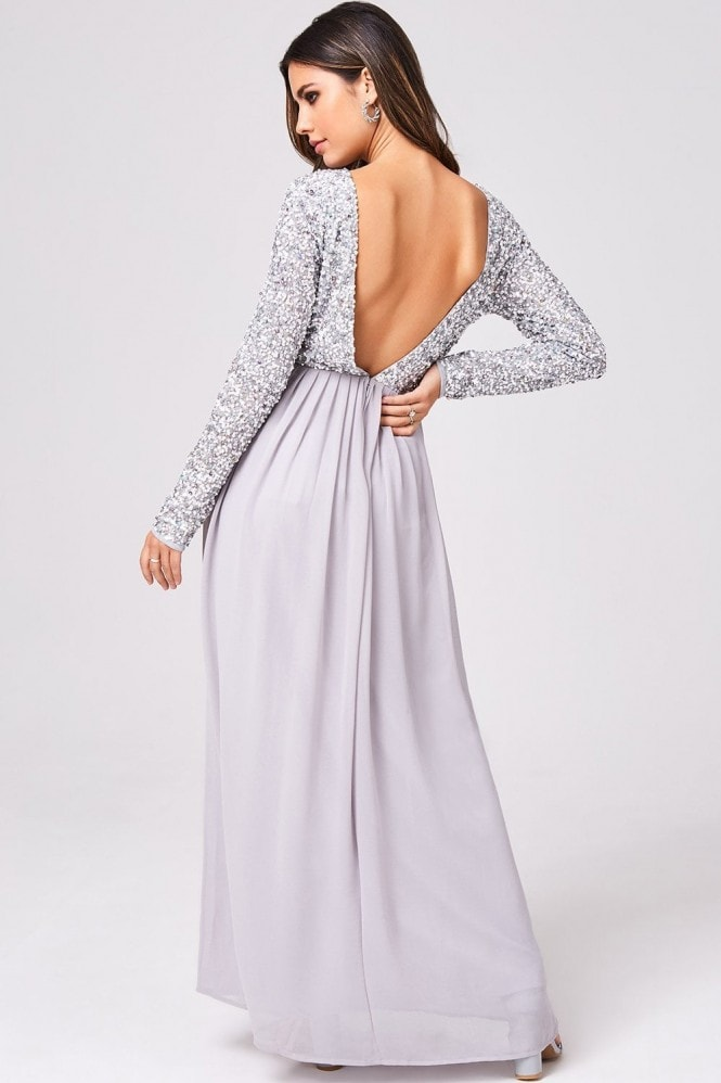 Little Mistress Luxury Briella Grey Hand-Embellished Pearl Maxi Dress