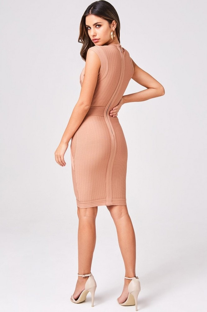 Little Mistress Gabriela Nude Bandage Bodycon Dress