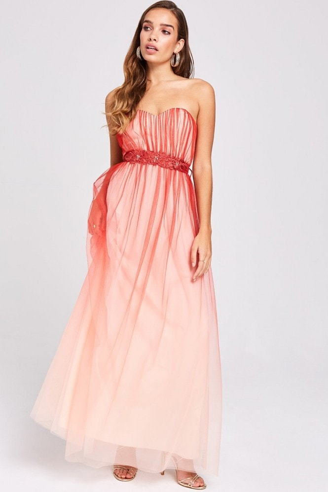 Little Mistress Carissa Grapefruit Floral Belt Maxi Dress