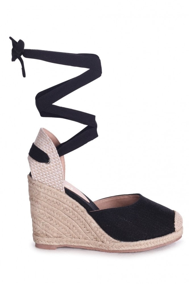 Linzi Meghan Black Canvas Closed Toe Espadrille Wedges With Tie Up Straps