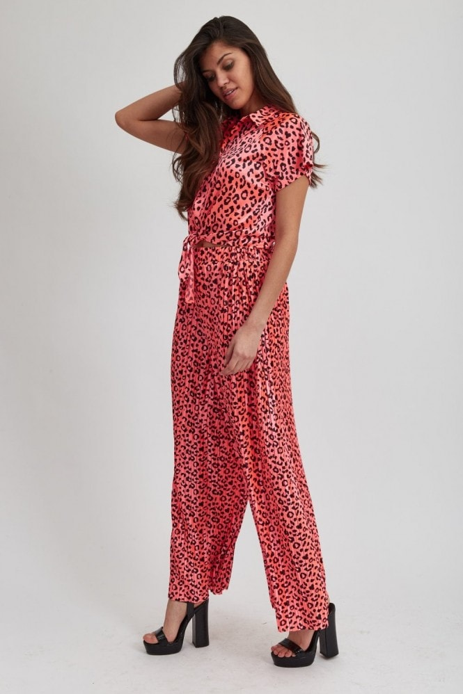 Liquorish Hot Pink Animal Print Top