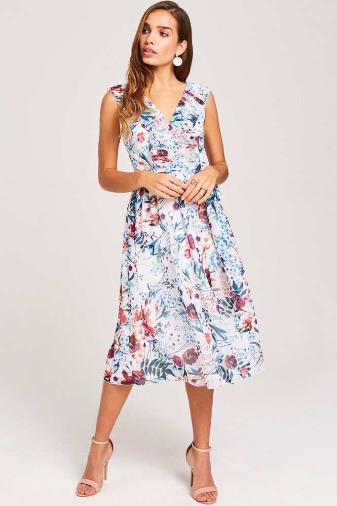 Little Mistress Ria Floral-Print Midi Dress
