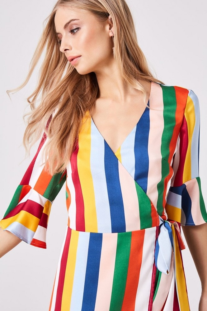 Girls on Film Solar Candy Stripe Wrap Dress