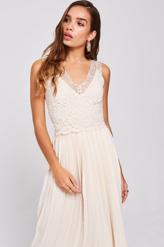 Little Mistress Ellis Buttercup Pleated Midaxi Dress