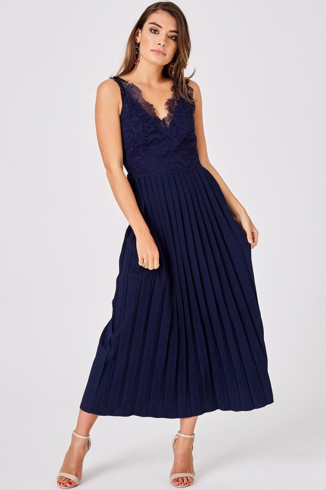 Little Mistress Ellis Navy Pleated Midaxi Dress