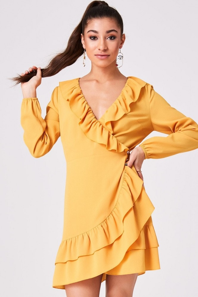 Girls on Film Gabi Mustard Frill Wrap Dress