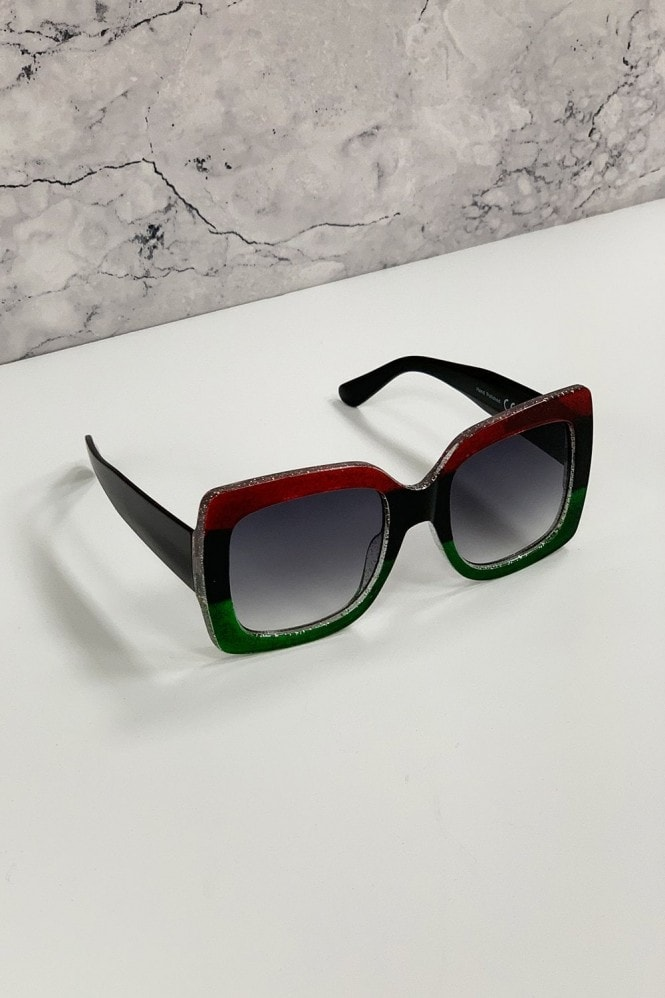 Little Mistress Harlow Red And Green Large Square Trend Sunglasses