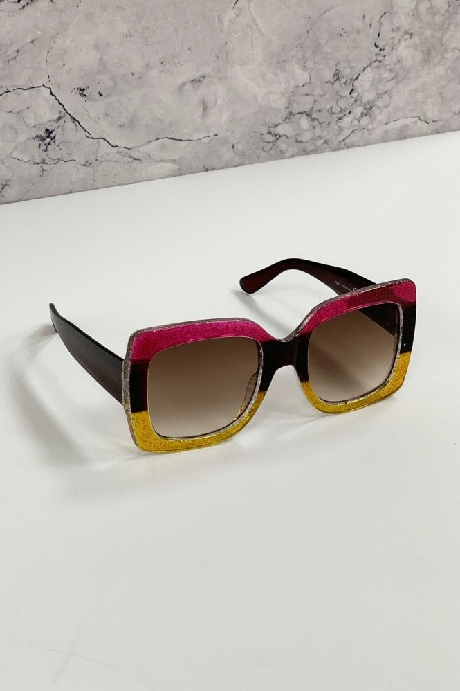 Harlow Pink And Yellow Large Square Trend Sunglasses