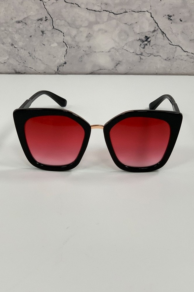 Mustique Black And Pink Modern Minimal Square Sunglasses