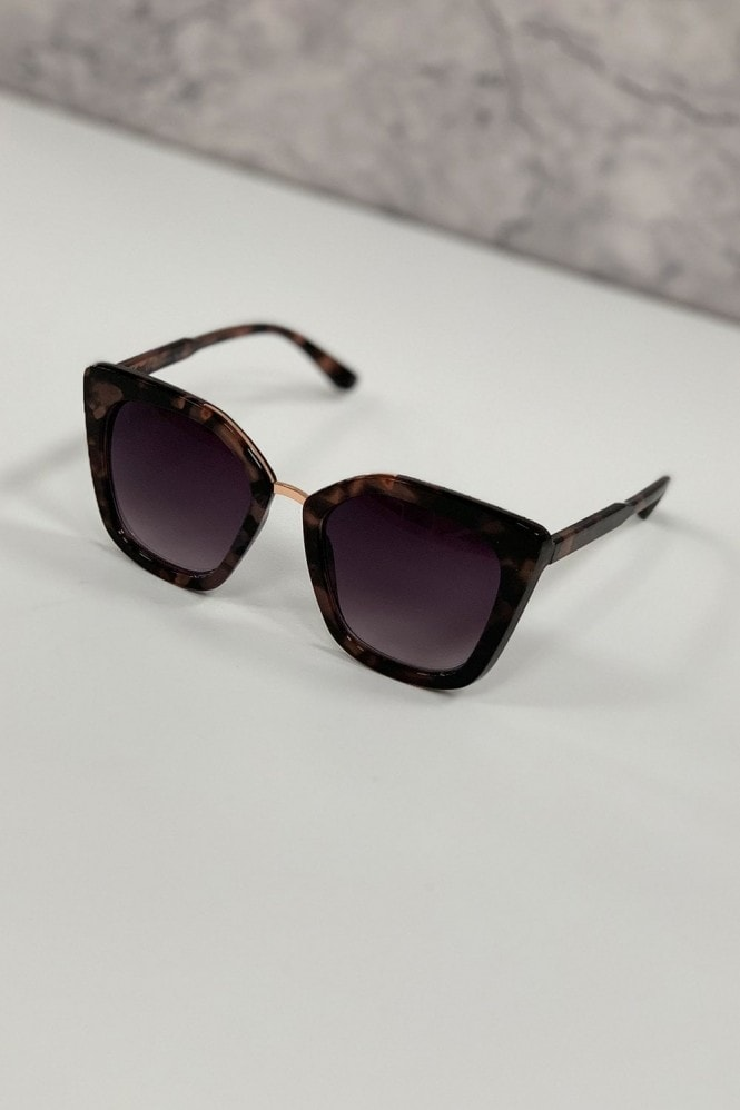 Mustique Brown And Purple Modern Minimal Square Sunglasses
